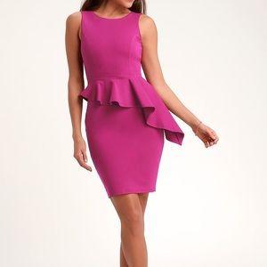 Here &Vow Magenta Sleeveless Ruffled Bodycon Dress